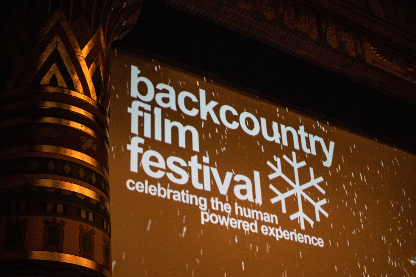 The Backcountry Film Festival header is displayed during a snow storm