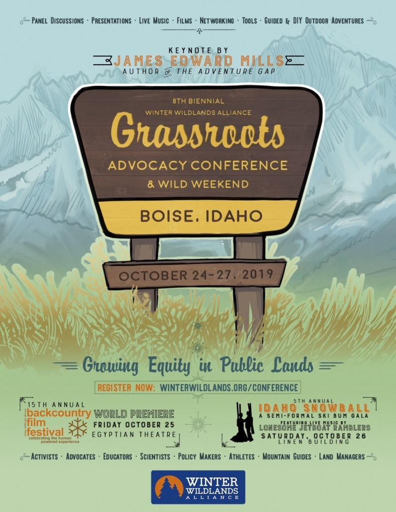 The flyer for the Grassroots Conference, Wild Weekend, Backcountry Film Festival, and SnowSchool SnowBall