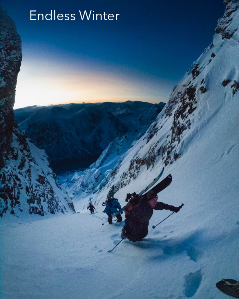 skiers climb a couloir in norway for the backcountry film festival's endless winter