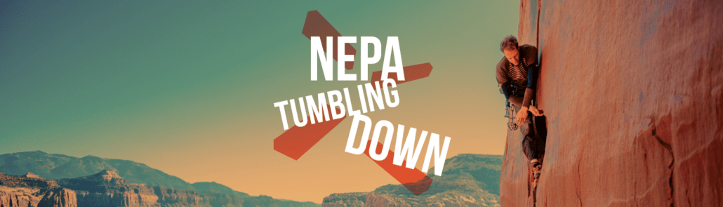 A logo that says NEPA tumbling down for the National Environmental Policy Act